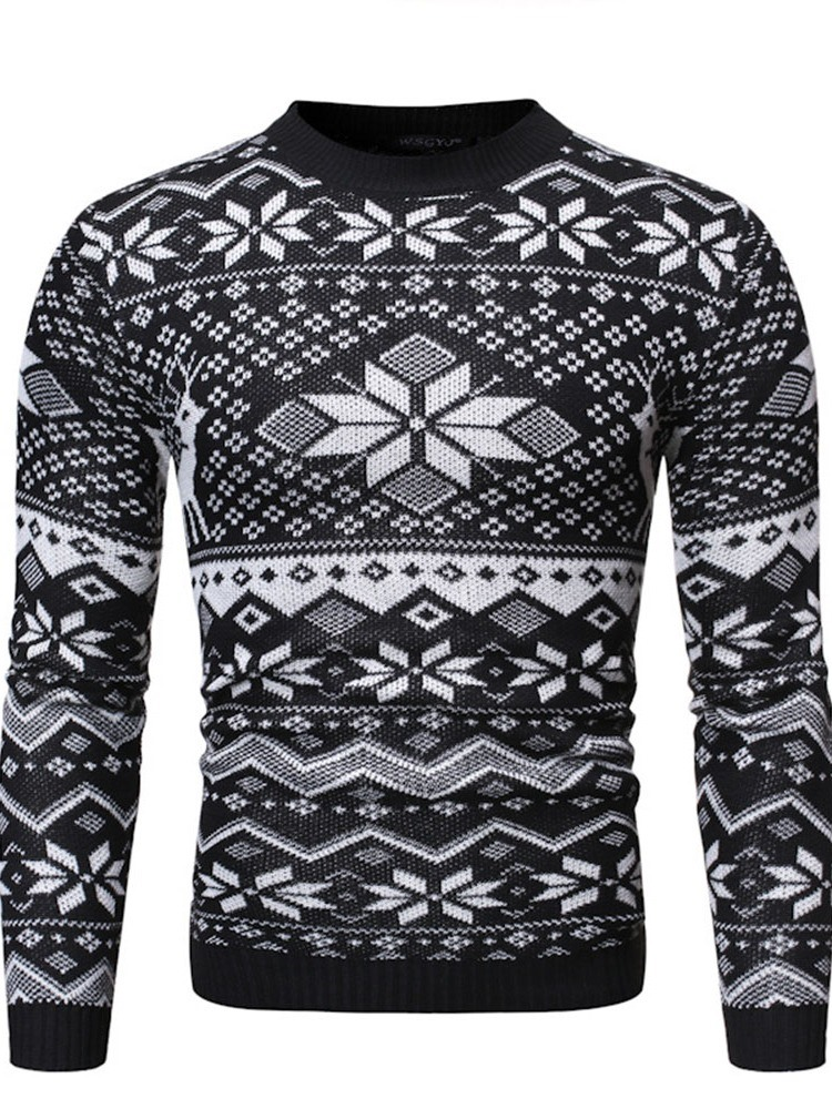 Ericdress Geometric Round Neck Standard Casual Fall Christmas Men's Sweater