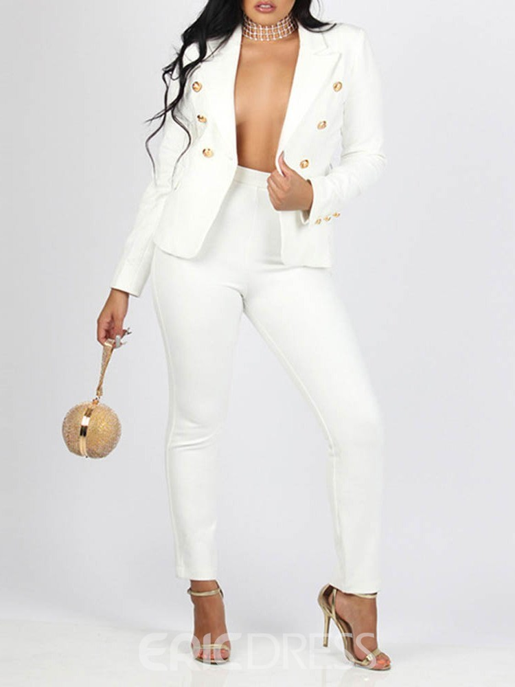 Ericdress Button Blazer Casual Full Length Long Sleeve Women's Suit