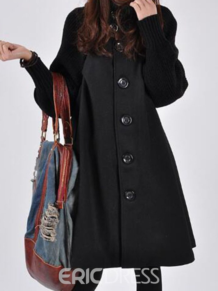 Ericdress Single-Breasted Pocket A Line Turtleneck Fall Women's Overcoat