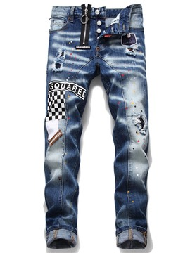 Ericdress Letter Paint Splatters Mid Waist European Men's Jeans