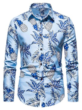 Ericdress Casual Print Floral Men's Slim Single-Breasted Shirt