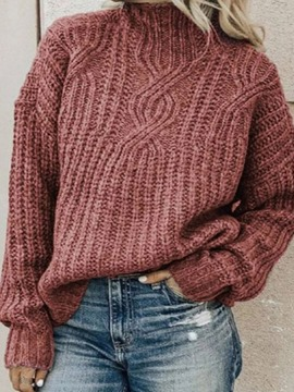 Ericdress Regular Thin Patchwork Turtleneck Loose Women's Sweater