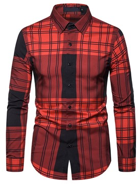 Ericdress Lapel Plaid Casual Single-Breasted Men's Shirt