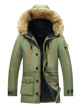 Ericdress Hooded Standard Pocket European Men's Zipper Down Jacket