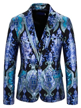 Ericdress Blazer Print One Button Men's Dress Suit