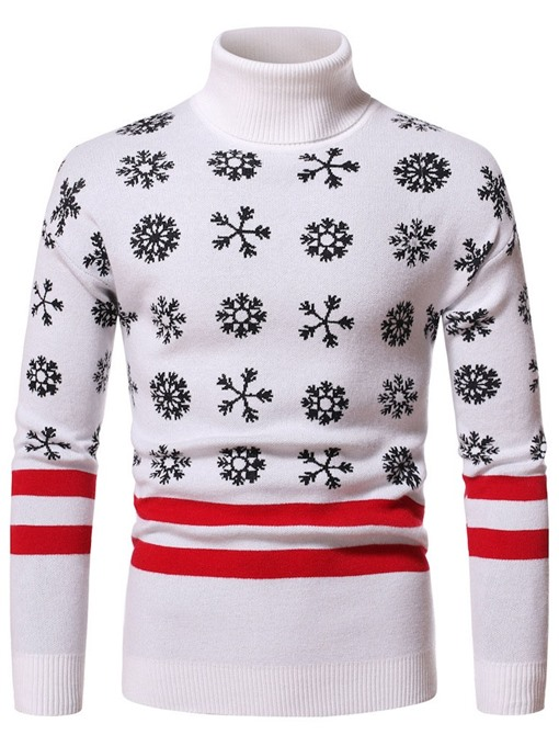Ericdress Floral Standard Turtleneck Casual Men's Christmas Slim Sweater