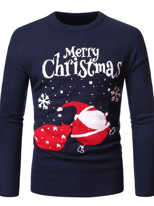 Ericdress Round Neck Standard Letter Fall Men's Christmas Slim Sweater