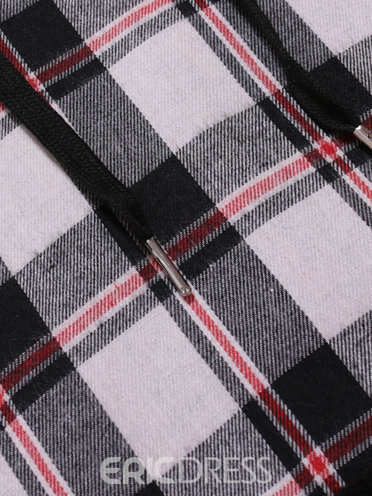 Ericdress Pullover Plaid Patchwork Casual Men's Slim Hoodies