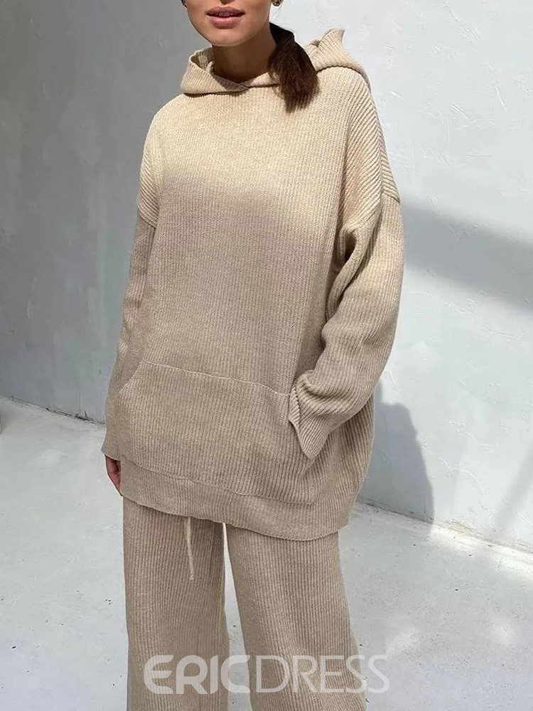 Ericdress Plain Sweater Casual Hooded Pullover Women's Two Piece Sets