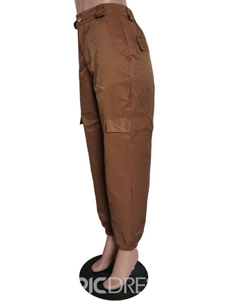 Ericdress Loose Pocket Plain Overall Full Length Women's Casual Pants