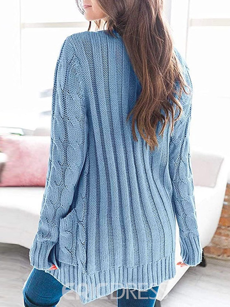 Ericdress Single-Breasted Regular Button Long Sleeve Mid-Length Women's Sweater