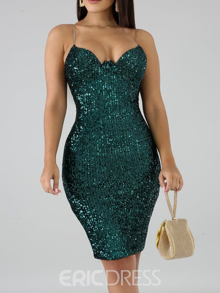 Ericdress Sleeveless Sequins Above Knee Bodycon Women's Dress