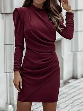 Ericdress Nine Points Sleeve Stand Collar Above Knee Fall Women's Bodycon Dress