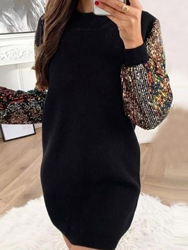 Ericdress Sequins Round Neck Above Knee Women's Sexy Fall Dress