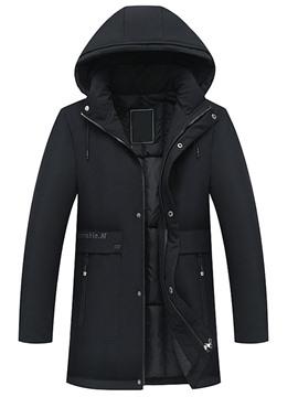 Ericdress Letter Pocket Mid-Length Casual Zipper Men's Down Jacket