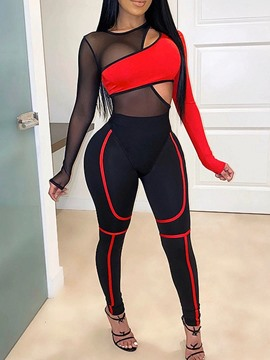 Ericdress Sexy Color Block See-Through Pencil Pants Round Neck Women's Two Piece Sets