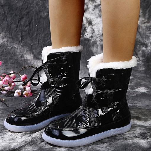 Ericdress Flat With Round Toe Lace-Up Front Lace-Up Boots