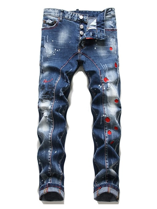 Ericdress Embroidery Mid Waist Button Men's Jeans
