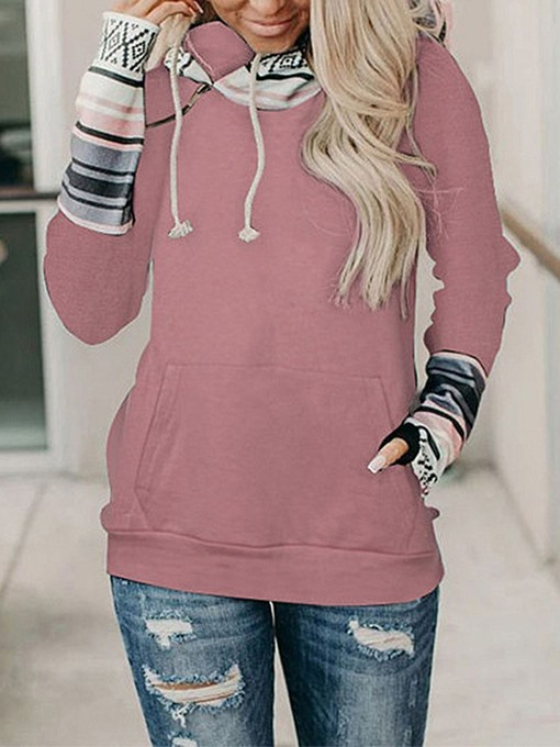 Ericdress Regular Pocket Color Block Fall Standard Women's Hoodie
