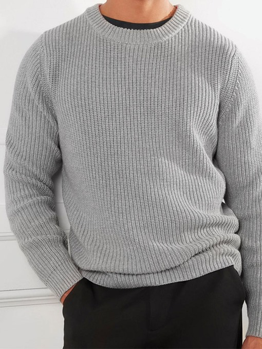 Ericdress Round Neck Standard Men's Plain Fall Sweater
