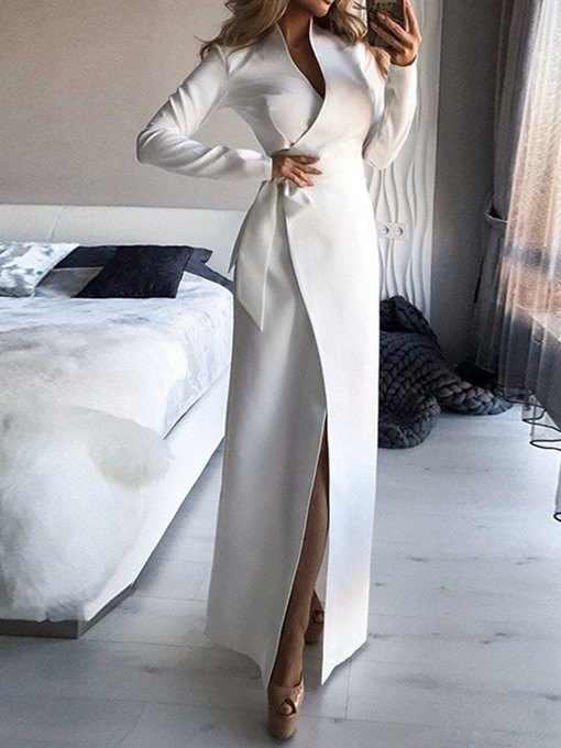 Ericdress Long Sleeve Floor-Length Lace-Up Plain Lace-Up Women's Dress
