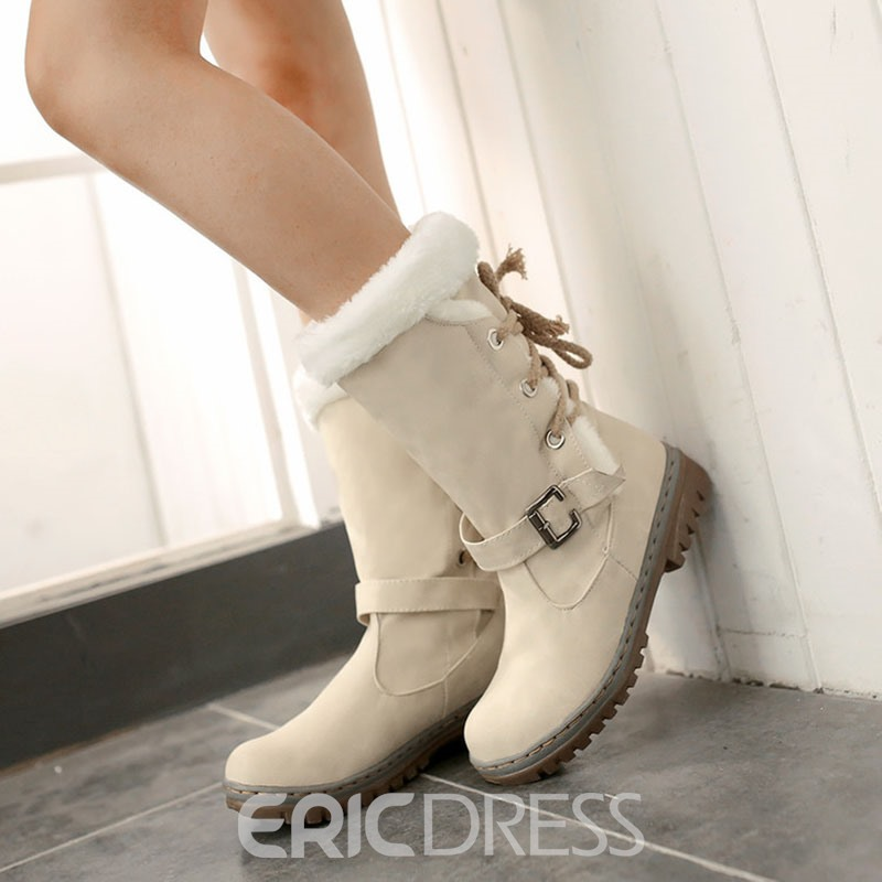 Ericdress Block Heel Round Toe Lace-Up Back Western Boots