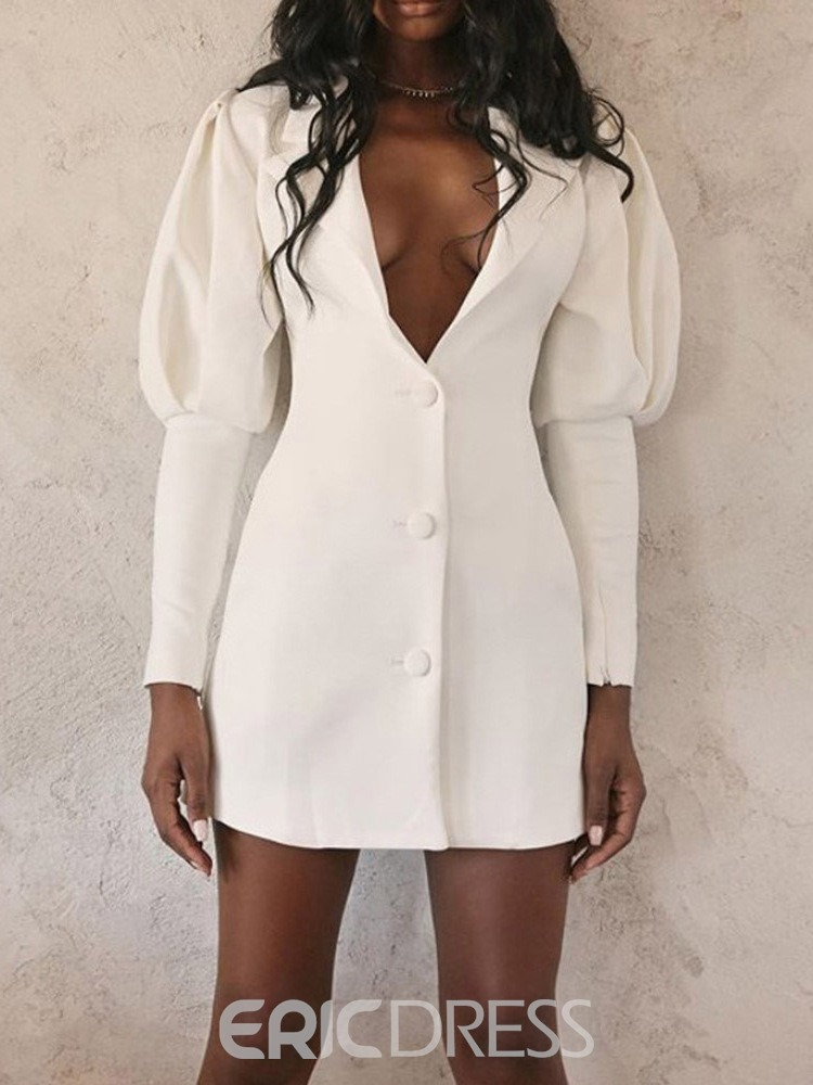Ericdress Button Above Knee Long Sleeve Women's Bodycon Single-Breasted Dress
