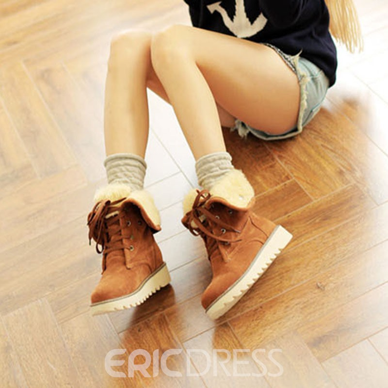 Ericdress Plain Round Toe Lace-Up Front Plush Boots