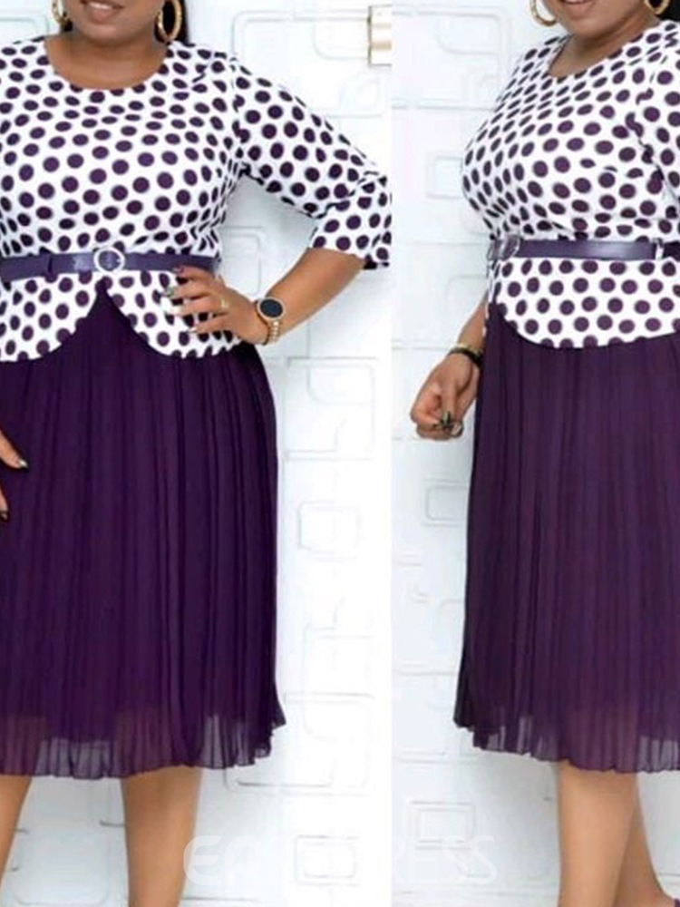 Ericdress Polka Dots Skirt Sweet Pullover Round Neck Women's Two Piece Sets