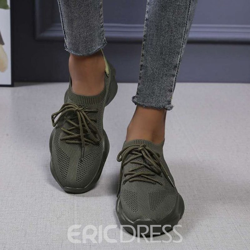 Ericdress Low-Cut Upper Round Toe Lace-Up Plain Sneakers