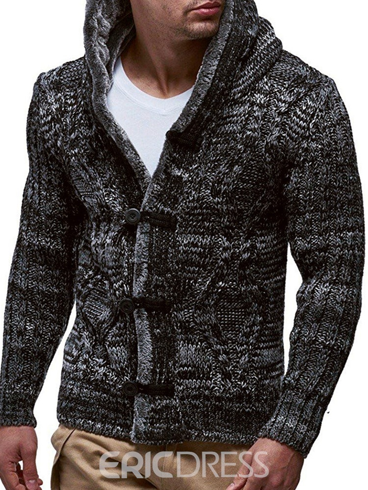 Ericdress Patchwork Color Block Standard Single-Breasted Men's Sweater
