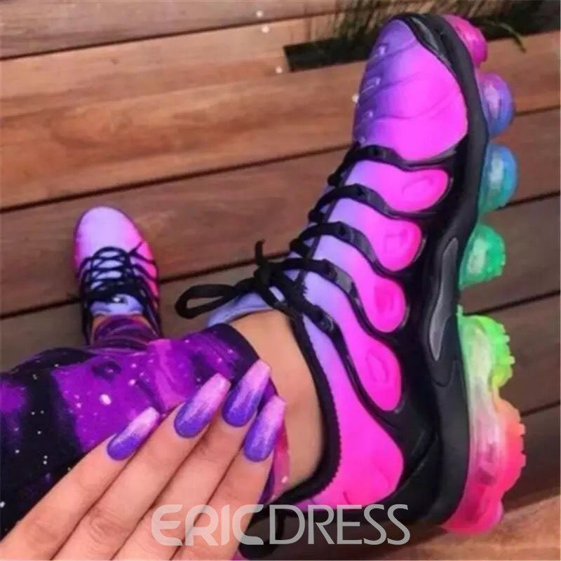 Ericdress Lace-Up Round Toe Color Block Sneakers
