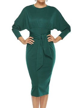 Ericdress Mid-Calf Round Neck Nine Points Sleeve Pullover Fall Women's Dress