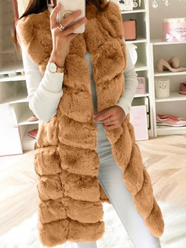 Ericdress Long Plain Regular Winter Slim Faux Fur Overcoat
