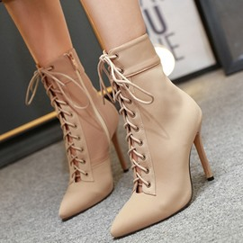 Ericdress Stiletto Heel Pointed Toe Plain Simple Boots