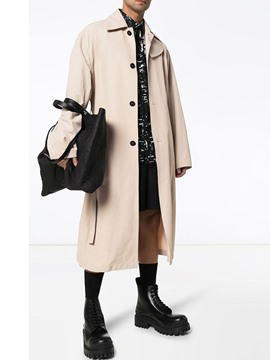 Ericdress Lapel Long Plain Fall Men's Slim Trench Coat