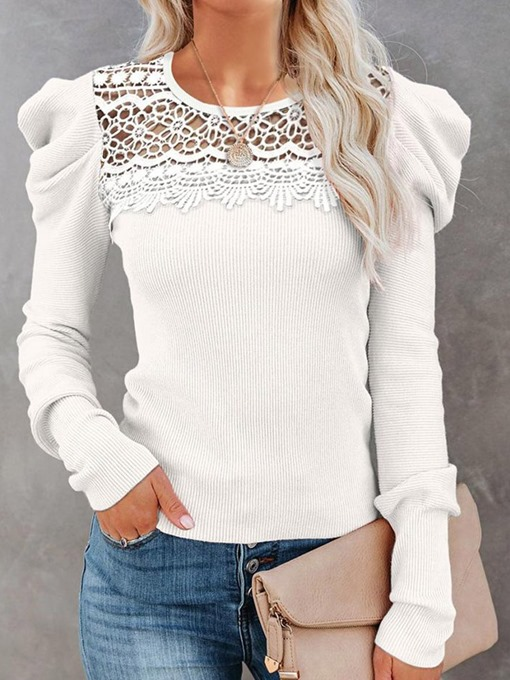 Ericdress Lace Round Neck Fall Sweater