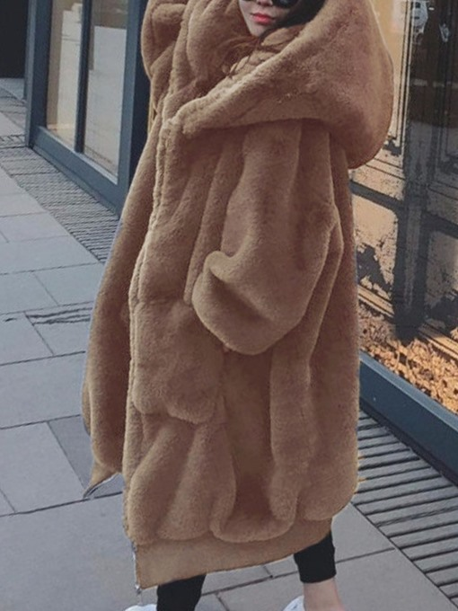 Ericdress Hooded Regular Plain Loose Thick Faux Fur Overcoat