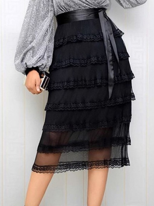 Ericdress Lace-Up Mid-Calf Floral Sweet High Waist Women's Skirt