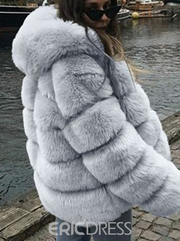 Ericdress Hooded Mid-Length Plain Winter Loose Faux Fur Overcoat