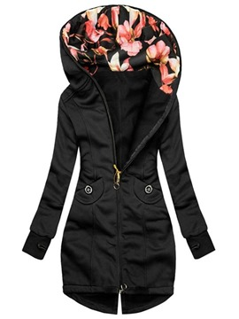 ericdress poche zippée mi-long slim regular trench