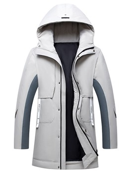 Ericdress Mid-Length Patchwork Hooded Casual Zipper Men's Down Jacket