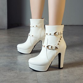 Ericdress Round Toe Plain Back Zip Western Boots
