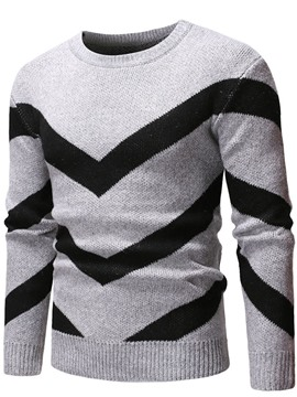Ericdress Standard Color Block Round Neck Men's Slim European Sweater