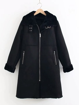 Ericdress Slim Regular Zipper Lapel Mid-Length Women's Overcoat