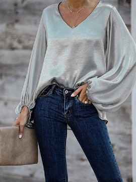 Ericdress V-Neck Long Sleeve Plain Loose Western Women's T-Shirt
