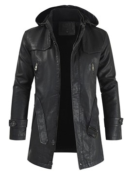Ericdress Mid-Length Plain Stand Collar Fall Casual Leather Men's Jacket
