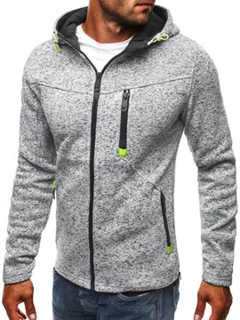 Ericdress Zipper Color Block Fleece Men's Fall Hoodies
