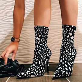Ericdress Back Zip Pointed Toe Stiletto Heel Print Boots