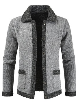 Ericdress Lapel Color Block Standard Winter Casual Men's Sweater